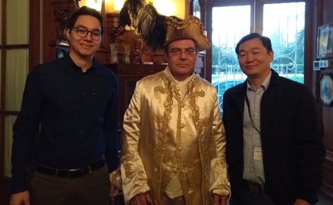 Me, Bertrand Meyer wearing eighteenth-century european clothes, and Gabriel Tamura